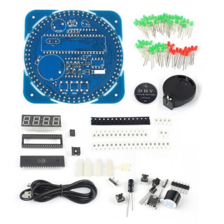 DIY DS1302 Rotating LED Electronic Digital Clock Kit 51 SCM Learning Board 5V xp