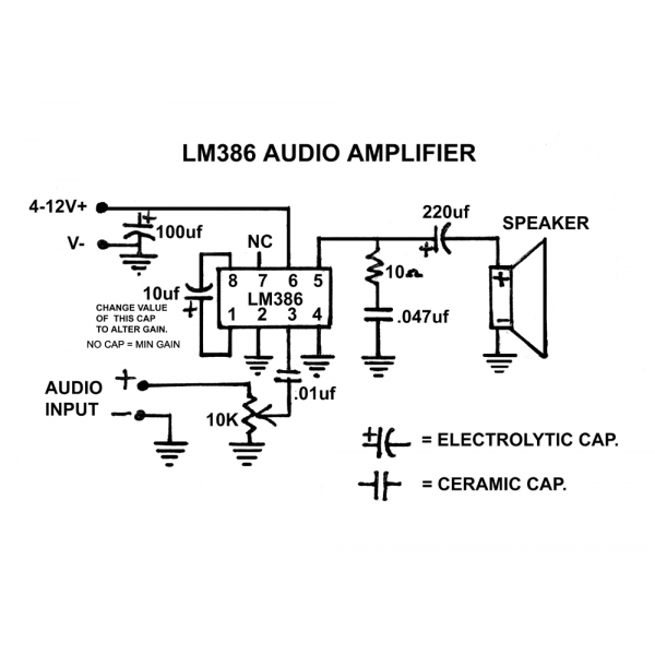 Tiny Audio Amplifier Using Lm386